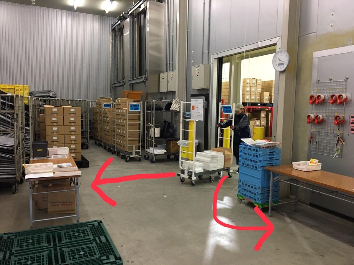 出入口が一つのため、どの梱包場所でも出入口との距離が変わらないようレイアウトしています