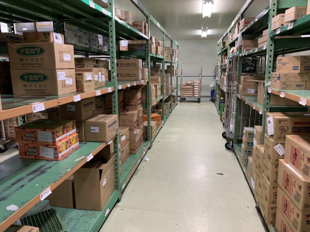 冷凍倉庫内の保管スペースです。